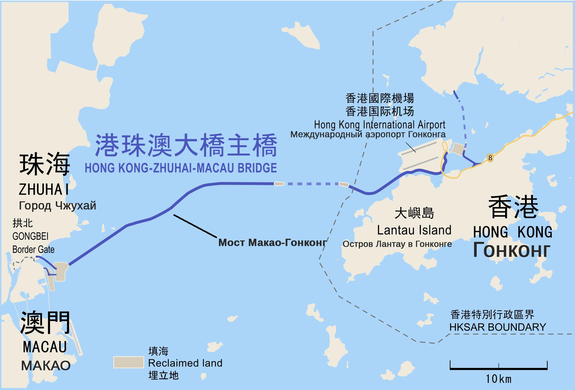 самый длинный мост в мире на карте